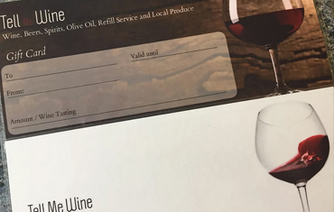 Gift vouchers available at Tell Me Wine - Wine tasting in the Wye Valley at Chepstow